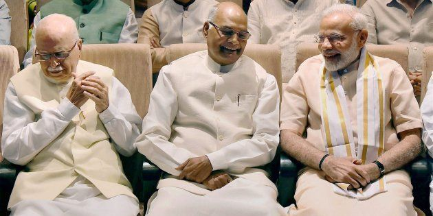 Presidential candidate Ram Nath Kovind along with Prime Minister Narendra Modi and BJP Senior leader...