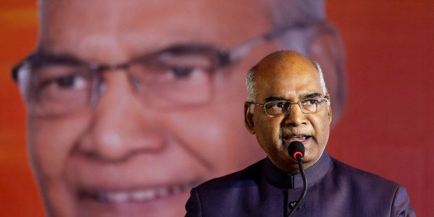 Ram Nath Kovind, nominated presidential candidate of India?s ruling Bharatiya Janata Party (BJP), delivers...