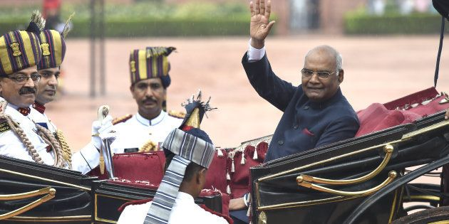 New President Ram Nath Kovind arrives at Rashtrapati Bhawan after the oath taking