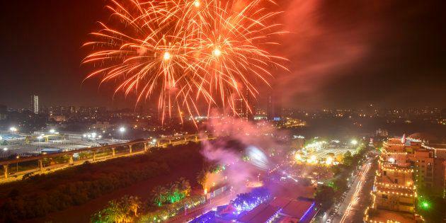 MUMBAI, INDIA - NOVEMBER 4:  Fire Crackers bursting ahead of Diwali, the festival of Lights, at Wadala   on November 4, 2018 in Mumbai, India.  (Photo by Kunal Patil/Hindustan Times via Getty Images)