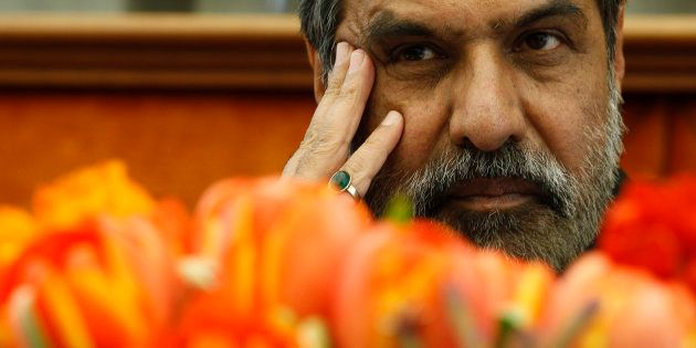 Anand Sharma pauses during a ceremony for India's Accession to the Madrid Protocol at the World Intellectual...
