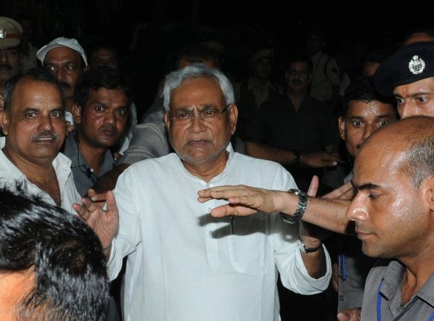 Bihar Chief Minister Nitish Kumar Speaking to media after he submitted his resignation at Raj Bhawan...