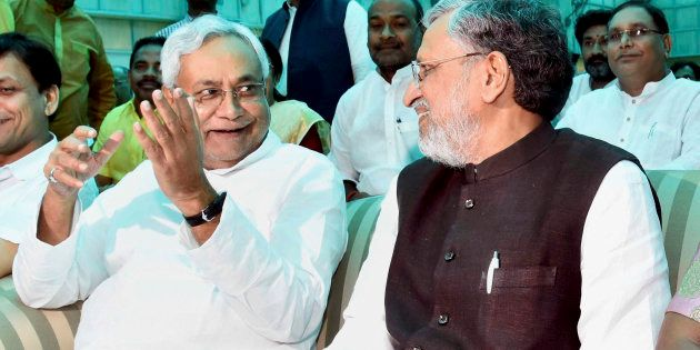 Nitish Kumar and Shushil Kumar Modi after they were sworn-in as Bihar Chief Minister and Dy Chief Minister...