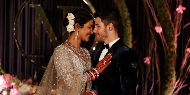 Priyanka Chopra and Nick Jonas at their wedding reception in New Delhi, India on