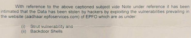 An excerpt of a secret letter dated 23 March 2018 revealing details of a security breach in an Aadhaar-seeding...