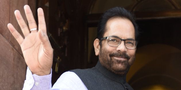 MOS Parliamentary Affairs Mukhtar Abbas Naqvi at Parliament during the opening of the Budget Session...