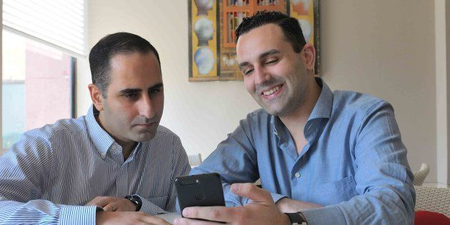 NEW DELHI, INDIA MARCH 27: (L to R) Nami Zarringhalam CSO and co-founder of Truecaller and Alan Mamedi...