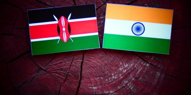 Kenyan flag with Indian flag on a tree