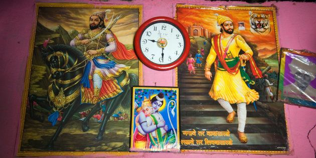 Poster of Shivaji and Ram Hugging Hanuman on the wall interior village Salunkhewadi, near Ghat Nandur,...