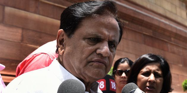Congress Rajya Sabha MP Ahmed Patel talking to media person on the issue of attacks on Dalits in Gujarat's