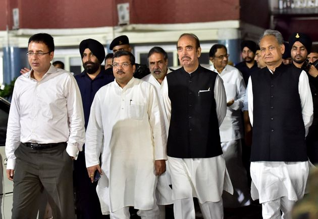 New Delhi: Congress leaders P Chidambaram, Ashok Gehlot, Ghulam Nabi Azad, Mukul Wasnik and Anand Sharma...