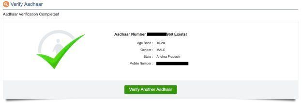 The Aadhaar numbers leaked on the website were verified as