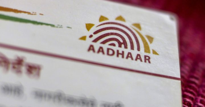 An Aadhaar biometric identity card, issued by the Unique Identification Authority of India (UIDAI).