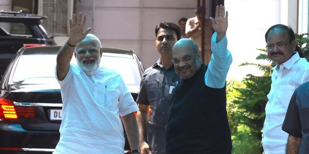 NEW Prime Minister Narendra Modi and BJP National President Amit