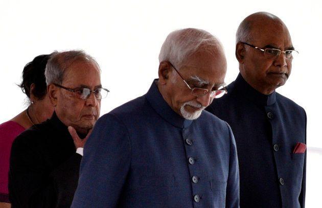 President Pranab Mukherjee, President-elect Ram Nath Kovind and Vice President Hamid Ansari in a ceremonial...