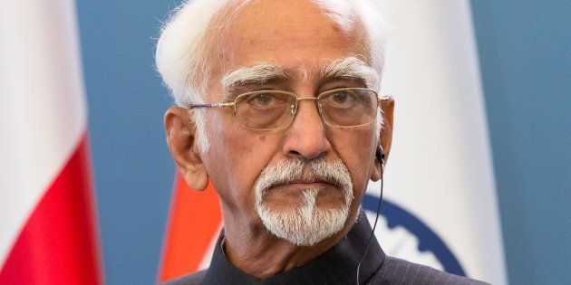 Vice President of India Mohammad Hamid Ansari during the press conference at Chancellery of the Prime...