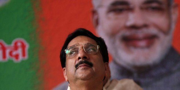 File photo of BJP Leader Raj Purohit on a fast at Azad Maidan, Mumbai in support of Narendra Modi's fast...