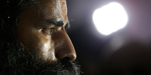 Ramdev talks to media after a news conference in New Delhi, India, May 4,