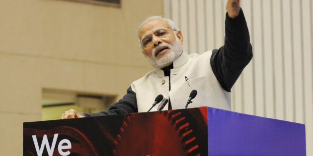 Prime Minister Narendra Modi at the launch of Startup India in January