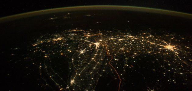 A real satellite photo of India at night. Just not on