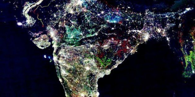 This photo, which is routinely circulated on Diwali, is described as a picture of India from space taken...