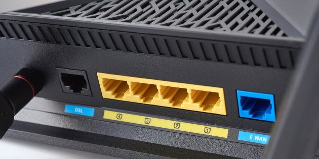 Detail of the ethernet ports on a Wi-Fi
