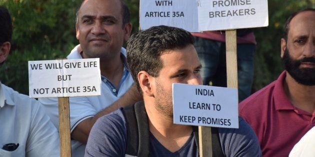 PRATAB PARK, SRINAGAR, INDIA - 2017/08/17: Civil society of Kashmir hold a sit protest at press colony...