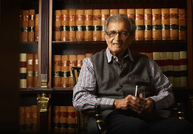 Nobel Laureate Economist Amartya Sen during an interview at Taj Mansingh Hotel on February 21, 2017 in...