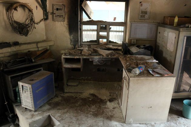 A room at Balluana railway station that was set afire by followers of Dera Sacha Sauda after conviction...