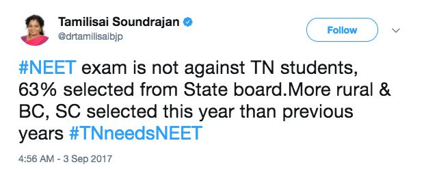NEET Petitioner Anitha's Suicide A 'Political Conspiracy', Says Tamil Nadu BJP