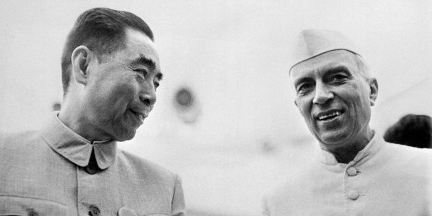 Picture taken from the 50s of Indian prime minister Pandit Jawaharlal Nehru, in official visit in China, talking with his chinese counterpart Zhou Enlai. Indian statesman and prime minister (1947-64).
