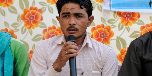 Pehlu Khan's son Irshad speaks during an Iftar get-together at Students Islamic Organisation of India...
