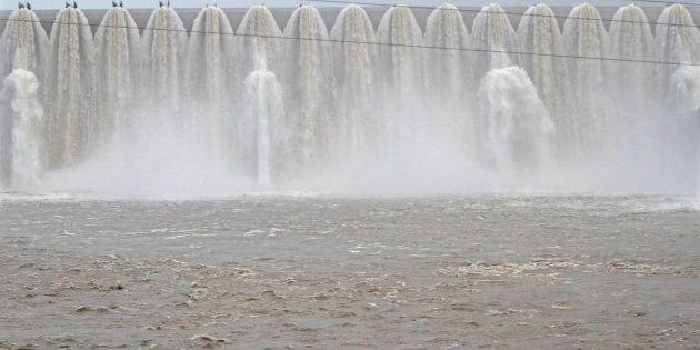 The overflowing Sardar Sarovar Narmada dam in Kavadia, 194 km (121 miles) south of the western Indian...