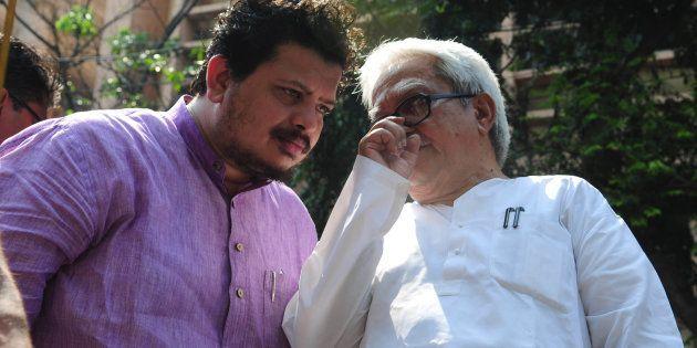 Ritabrata Banerjee, Member of Parliament (Rajya Sabha) with Biman Basu CPIM leader during a rally called...
