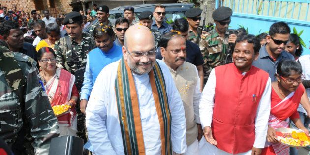 BJP President Amit Shah, along with Chief Minister Raghubar Das and former Chief Minister Arjun Munda,...