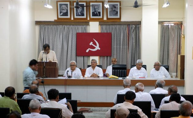 (L-R) CPI-M state secretary Dr. Surjya Kanta Mishra, Left Front chairman Biman Bose and Sitaram Yechury,...