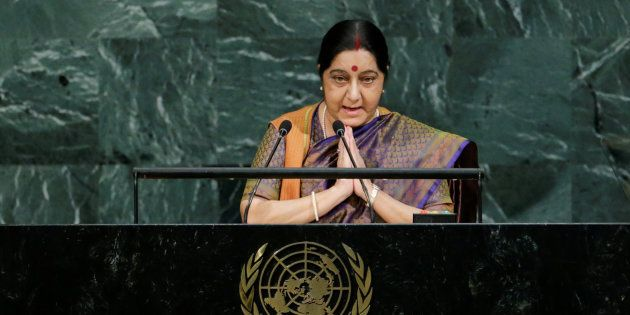 Indian External Affairs Minister Sushma Swaraj addresses the 72nd United Nations General Assembly at...
