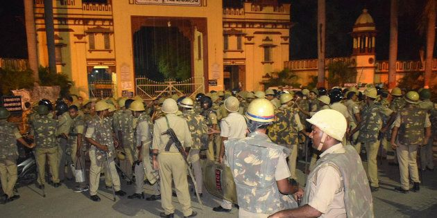 VARANASI, INDIA - SEPTEMBER 23: Heavy police personnel deployed at Banaras Hindu University where students...