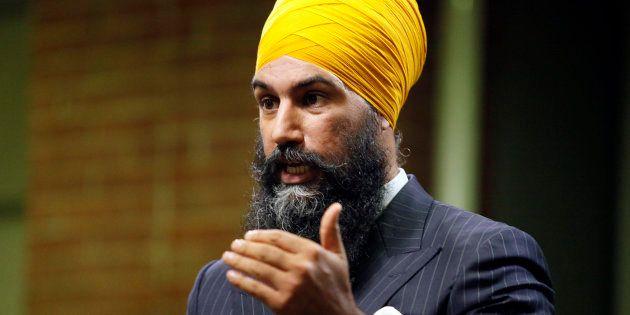 Jagmeet Singh gestures during an NDP leadership debate hosted by HuffPost Canada on Sept. 27,
