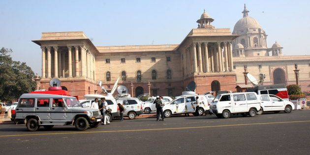 Media OB Vans (Vehicles) outside the North Block, in Delhi,