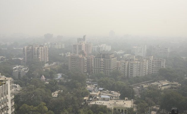 A top view of heavy air pollution on the day after Diwali in