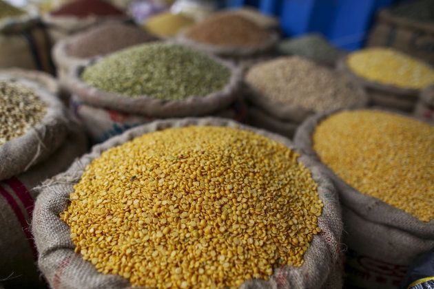 Split pigeon peas are displayed for sale in a store at a local market in Hyderabad, India, on Saturday,...