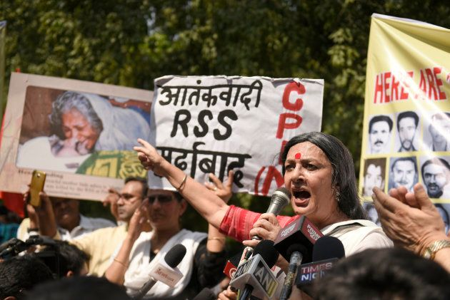 Communist Party of India, CPI(M), organises a demonstration at the BJP Headquarters to protest against...