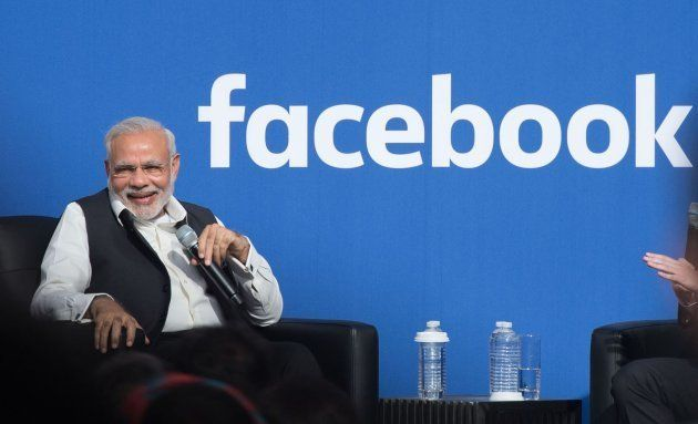 Indian Prime Minister Narendra Modi attends a Townhall a Townhall meeting, at Facebook headquarters in...