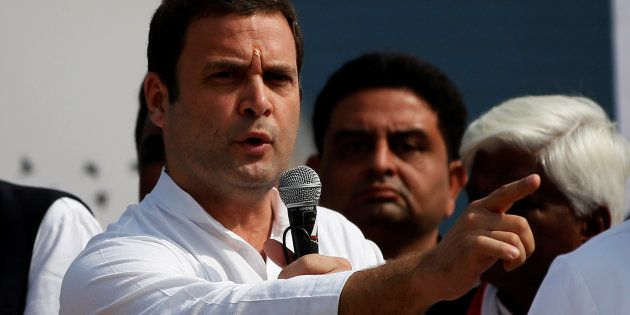 Rahul Gandhi, Vice-President of India's main opposition Congress Party, addresses his supporters during...