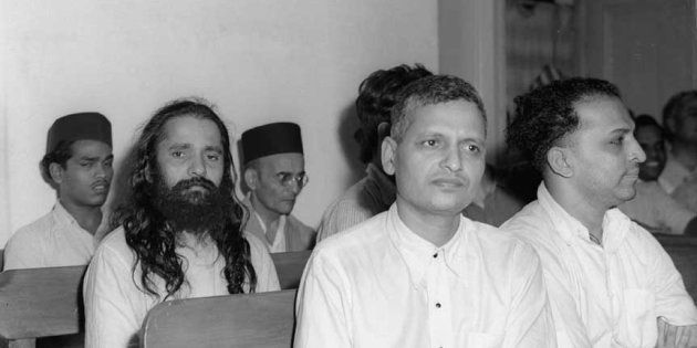 Photo taken during trial of the persons accuse of participation and complicity in Mahatma Gandhi's assassination in a Special Court in Red Fort, Delhi.