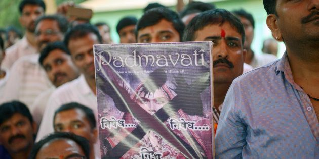 Members of the Rajput community take part in a protest against forthcoming Bollywood film 'Padmavati'...