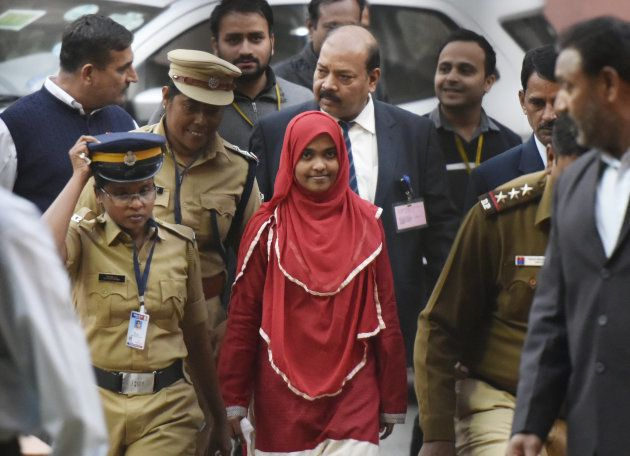 Hadiya alias Akhila at the supreme court after hearing on November 27, 2017 in New Delhi,