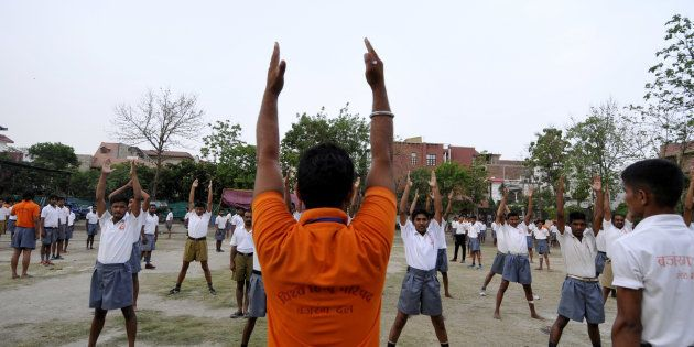 Members of Bajrang Dal doing drills during a self-defense training camp at Saraswati Shishu Mandir, an...
