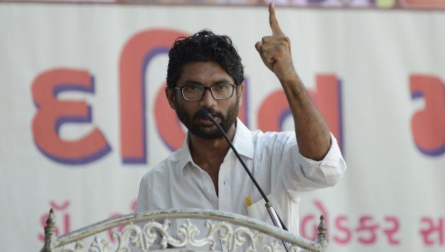 Jignesh Mevani delivers a speech at a Dalit rally in Ahmedabad on September 10,
